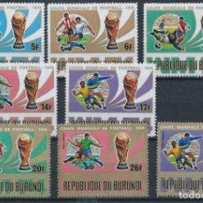 Sellos: BURUNDI 1974 IVERT 612/16 Y AEREO 319/21 *** CAMPEONATO DEL MUNDO DE FUTBOL - DEPORTES. Lote 203051988