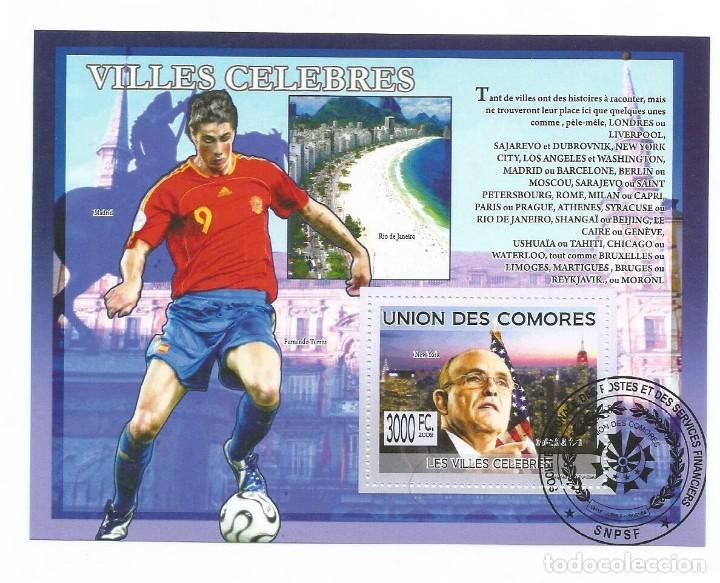 HOJA BLOQUE DE COMORES CIUDADES CELEBRES Y EN LA FOTO FUTBOL FERNANDO TORRES (Sellos - Temáticas - Deportes)