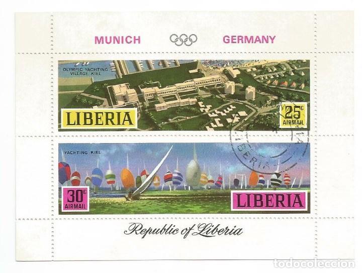 HOJA BLOQUE DE LIBERIA MUNICH OLIMPIADA (Sellos - Temáticas - Deportes)