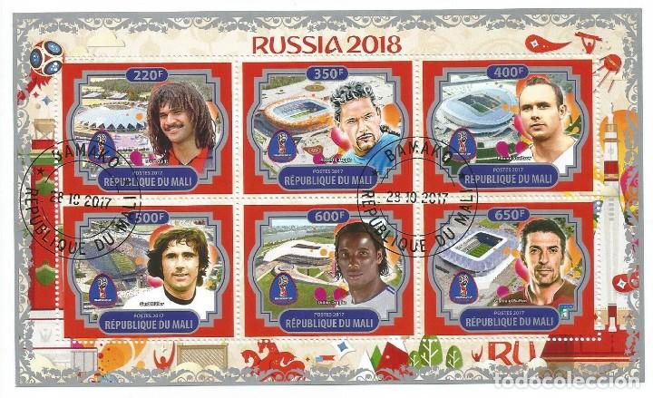 HOJA BLOQUE DE MALI MUNDIAL FUTBOL RUSSIA 2018 FUTBOLISTAS (Sellos - Temáticas - Deportes)