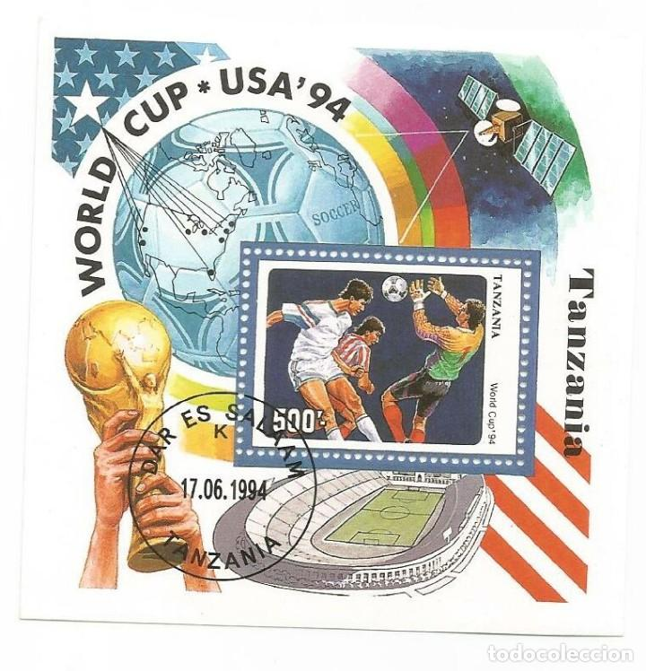 HOJA BLOQUE DE TANZANIA MUNDIAL 1994 (Sellos - Temáticas - Deportes)