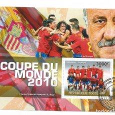 Timbres: HOJA BLOQUE DE TOGO CAMPEONATO DEL MUNDO DE FUTBOL 2010 CAMPEON ESPAÑA. Lote 204508405