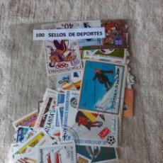 Timbres: DEPORTES TEMATICA 100 SELLOS FORMATO GRSNDE. Lote 205545628