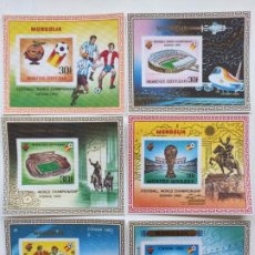 Sellos: MONGOLIA MUNDIAL FUTBOL ESPAÑA 82 6 HB SERIE COMPLETA EN SEDA MICHEL BL 78-83. Lote 205597535