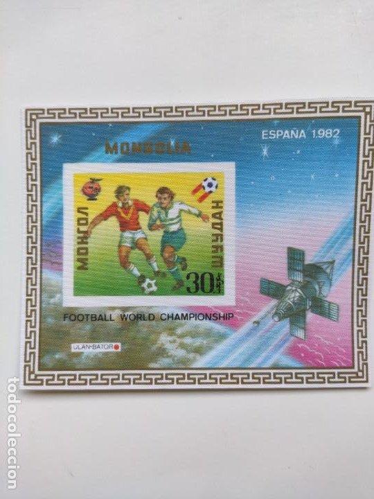 Sellos: Mongolia mundial futbol España 82 6 HB serie completa en seda Michel BL 78-83 - Foto 2 - 205597535