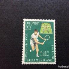 Sellos: COLOMBIA Nº YVERT AEREO 436*** AÑO 1963. DEPORTES. CAMPEONATO SUDAMERICANO DE TENIS. Lote 205604730