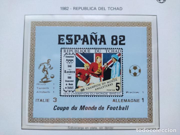 REPUBLICA DEL CHAD SELLOS ESPAÑA 82 2 HB SOBREIMPRESION ITALIA CAMPEON MARCADORES PLATA (Sellos - Temáticas - Deportes)