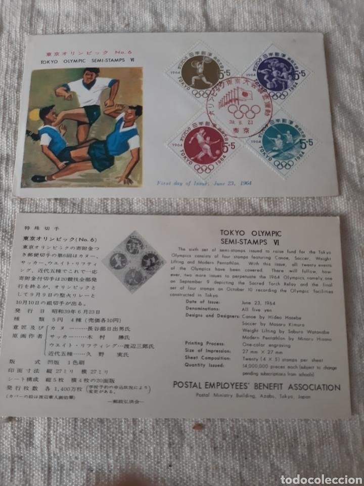 TOKIO JAPÓN CARTA OLÍMPICA MATASELLO FÚTBOL PIRAGÜISMO HATELOFILIA DEPORTES (Sellos - Temáticas - Deportes)