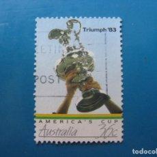 Sellos: +AUSTRALIA 1986, COPA DE AMERICA, EL TROFEO, YVERT 978. Lote 206155755