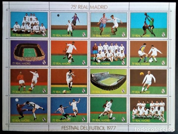 REAL MADRID FÚTBOL DEPORTES 75 ANIVERSARIO 16 VIÑETAS 1977 (Sellos - Temáticas - Deportes)