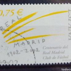 Sellos: CENTENARIO DEL REAL MADRID SELLO USADO DE FÚTBOL. Lote 206208162