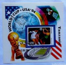 Sellos: TANZANIA MUNDIAL DE FÚTBOL USA 1994 HOJA BLOQUE DE SELLOS USADOS. Lote 206219830