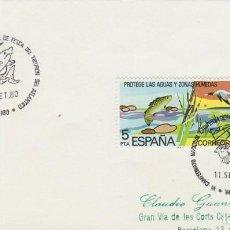 Sellos: AÑO 1980, CAMPEONATO NACIONAL DE PESCA DEL TIBURON DE ATLANTICO, MATASELLO DE VIGO. Lote 206911376