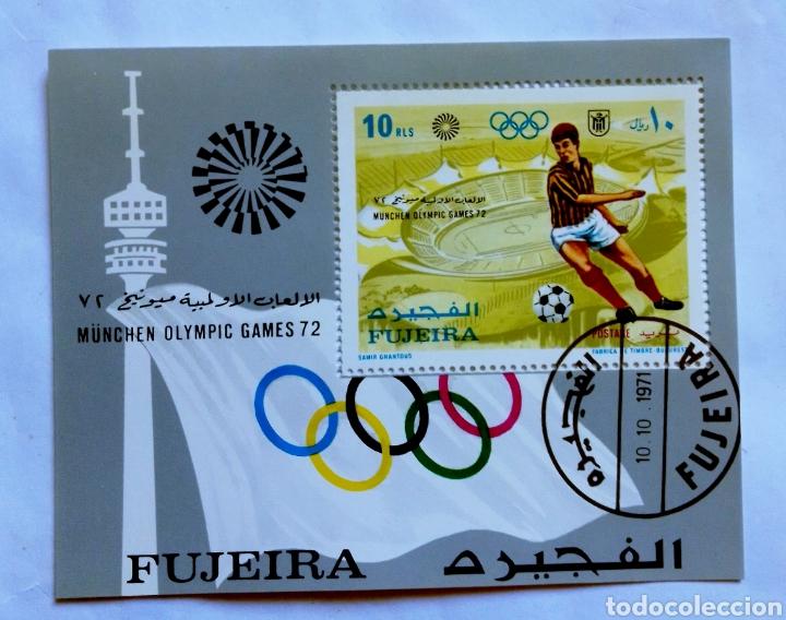OLÍMPIADAS DE MUNICH 72 FUTBOL HOJA BLOQUE DE SELLOS USADOS DE EMIRATOS ÁRABES (Sellos - Temáticas - Deportes)