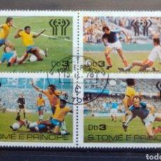Sellos: MUNDIAL FUTBOL ARGENTINA 78 HOJA BLOQUE DE SELLOS USADOS DE ST. TOMÉ Y PRÍNCIPE. Lote 206953950