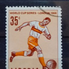 Sellos: MUNDIAL FUTBOL INGLATERRA 1966 SELLO USADO DE LIBERIA. Lote 206957818
