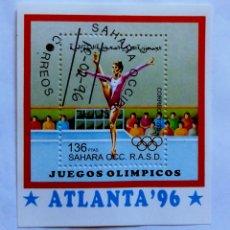Sellos: OLÍMPIADAS DE ATLANTA 1996 HOJA BLOQUE DE SELLOS USADOS DE SÁHARA OCCIDENTAL. Lote 206958201