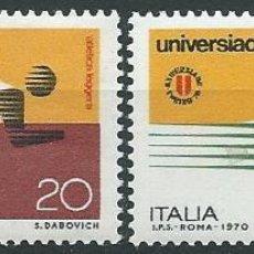 Sellos: 1970. ITALIA/ITALY. YVERT 1050/1**MNH. UNIVERSIADA TURÍN. UNIVERSITY GAMES. ATLETISMO. NATACIÓN.. Lote 207141498