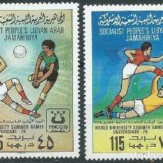 Sellos: 1979. LIBIA/LIBYA. YVERT 792/3**MNH. UNIVERSIADA MÉXICO/UNIVERSITY GAMES. VOLEIBOL. FÚTBOL/FOOTBALL. Lote 207141786