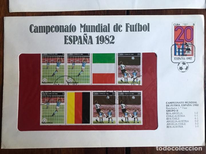 Sellos: Lote de 21 sobre sellos campeonato mundial fútbol 1982 y regalo - Foto 6 - 207871870