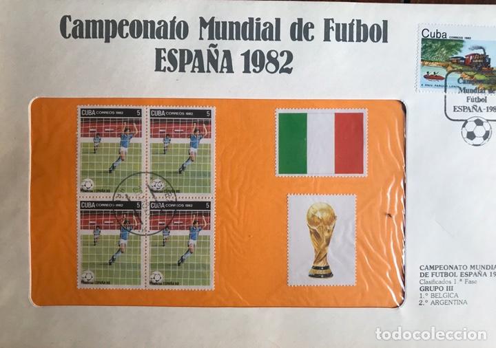 Sellos: Lote de 21 sobre sellos campeonato mundial fútbol 1982 y regalo - Foto 8 - 207871870