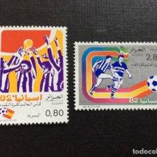 Sellos: ARGELIA Nº YVERT 753/4** AÑO 1982. CAMPEONATO DEL MUNDO DE FUTBOL, EN ESPAÑA. CON CHARNELA. Lote 208897717