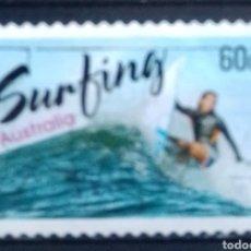 Selos: AUSTRALIA RECIENTE DEPORTES ACUÁTICOS SURFING SELLO USADO. Lote 210109256