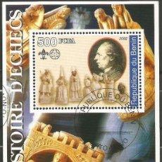 Sellos: REPÚBLICA DE BENIN - HISTORIA DE AJEDREZ - BLOQUE DE RECUERDO. Lote 210318195
