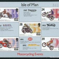 Sellos: ISLA DE MAN 1993 HB IVERT 21 *** EVENTOS MOTOCICLISTAS - DEPORTES - MOTOS. Lote 211966665