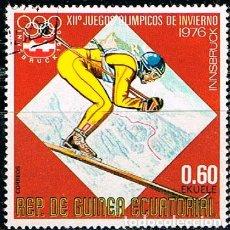 Sellos: GUINEA ECUATORIAL 1032, ESQUÍ, SLALOM, JUEGOS OLIMPICOS DE INNSBRUCK, USADO. Lote 212618072