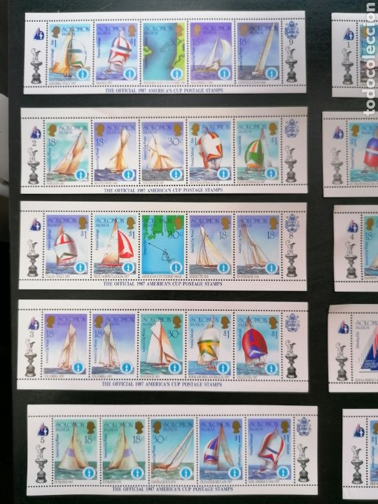 Sellos: Islas Salomon Copa America 1987 Sellos Deportes Vela Yvert 554/3 26 $ facial nuevo perfecto - Foto 2 - 212635991