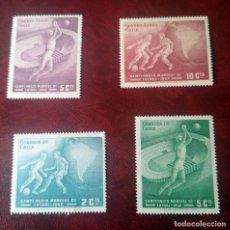 Sellos: CHILE Nº YVERT 295/6+ AEREO 710/1 AÑO 1962.. CAMPEONATO DEL MUNDO DE FÚTBOL. Lote 218018496