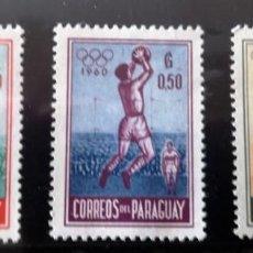Sellos: OLIMPIADAS 1960. FÚTBOL PARAGUAY. 3 SELLOS AÑO 1960 YVERT NOS. 272/4. . OLIMPIADA DE ROMA.. Lote 218024676