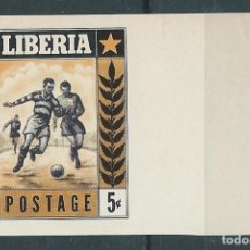 Sellos: 1955. LIBERIA. YVERT 326**MNH SIN DENTAR.IMPERFORATED. FÚTBOL. FOOTBALL. DIFÍCIL DE ENCONTRAR.. Lote 218844938