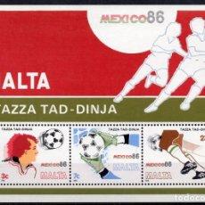 Sellos: MALTA/1986/MNH/SC#681A/ MUNDIAL DE FUTBOL MEXICO 1986 / DEPORTE. Lote 218873108