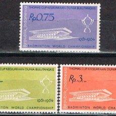 Sellos: INDONESIA Nº 342/4, CAMPEONATO DEL MUNDO DE BADMINTON THOMAS COOK, NUEVO CHARNELA (SERIE COMPLET. Lote 219508307