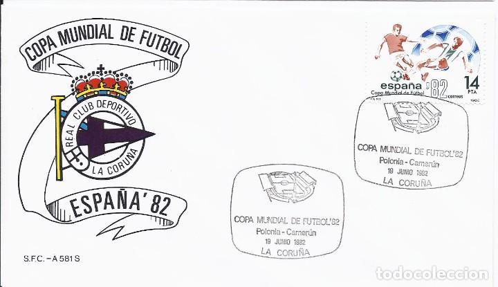 SPD COPA MUNDIAL DE FUTBOL ESPAÑA 82 PARTIDO POLONA-CAMERU.SEDE CORUÑA (DEPORTIVO) (Sellos - Temáticas - Deportes)