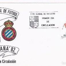 Sellos: SPD COPA MUNDIAL DE FUTBOL ESPAÑA 82 SEDE BARCELONA CON ESCUDOS DEL F.C.BARCELONA Y ESPAÑOL. Lote 219898090