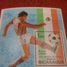 Sellos: HB NICARAGUA NUEVOS/1986/COPA/CAMPEONATO/MUNDIAL/FUTBOL/ESCULTURAS/ARTE/TESOROS/ARTESANIA/MEXICO. Lote 221823093