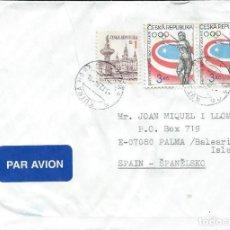 Sellos: 1996. REPÚBLICA CHECA/CZECH REPUBLIC. SOBRE CIRCULADO. JUEGOS OLÍMPICOS ATLANTA. DEPORTES. ATLETISMO. Lote 222743736