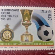 Sellos: ITALIA SELLO Nº YVERT 3238 AÑO 2011. DEPORTE. FUTBOL.INTER CAMPEÓN DE ITALIA 2010-11. Lote 223206900