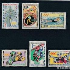 Sellos: CHECOSLOVAQUIA 1964 IVERT 1354/59 ** JUEGOS OLÍMPICOS DE TOKYO - DEPORTES. Lote 223938910