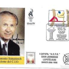 Timbres: CENTENARIO JUEGOS OLIMPICOS. TARJETA SAMARANCH. BARCELONA 1996. Lote 225164180