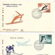 Timbres: OLIMPIADA DE INVIERNO 1956. 2 SPD CORREO AEREO. SAN MARINO. Lote 225165676