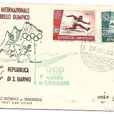 Sellos: 1ª EXPOSICION INTERNACIONAL DEL SELLO OLIMPICO. SAN MARINO 1955. Lote 225166133