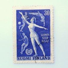 Sellos: SELLO POSTAL FINLANDIA 1956, 30 MK, ASOCIACION FINLANDESA DE GIMNASIA Y DEPORTE, USADO. Lote 229922815