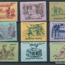 Sellos: HUNGRIA 1965 IVERT 1734/42 *** HISTORIA DEL TENIS - DEPORTES. Lote 230244180
