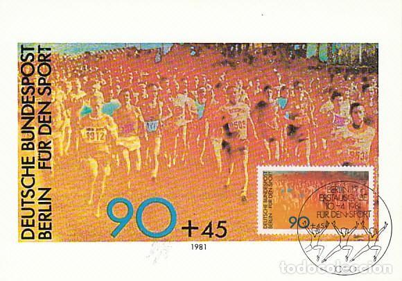 ALEMANIA BERLIN IVERT 607, ATLETISMO: CARRERA A PIE POPULAR, TARJETA MÁXIMA DE 10-4-1981 (Sellos - Temáticas - Deportes)