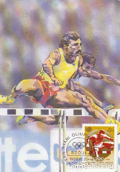 HUNGRIA Nº 3984, SALTO DE VALLAS, JUEGOS OLIMPICOS DE SEUL, TARJETA MAXIMA DE 20-4-1988 (Sellos - Temáticas - Deportes)