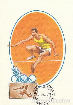 GUINEA ESPAÑOLA Nº 378, , SALTO DE ALTURA, TARJETA MAXIMA DE 8-3-1967. MUY RARA (Sellos - Temáticas - Deportes)